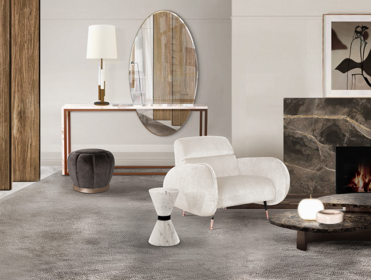 marble tables Marble Tables: Add A Neutral Complement To Your Living Room CL robusta center marco armchair liberica console lareira acesa 740x560