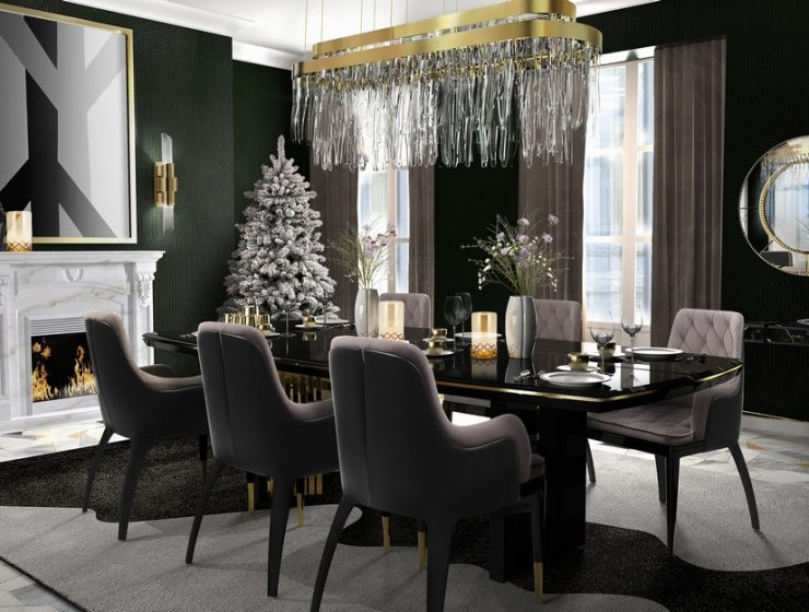 dining room Christmas Dining Room Decor Ideas christmas dining room decor ideas 5 740x560