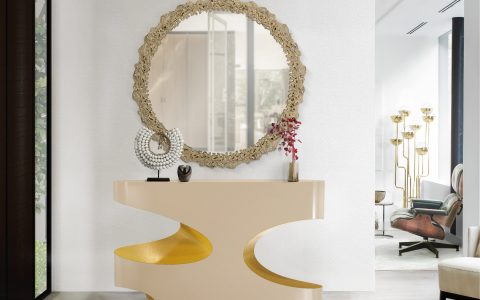 wall mirrors 18 Wall Mirrors To Decorate Your Walls BB bryce console cay mirror yarsa rug 1 480x300