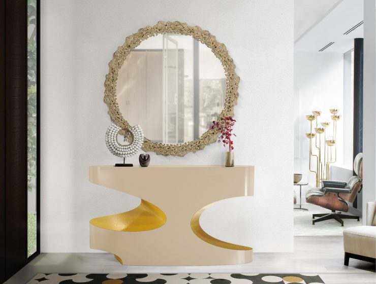 wall mirrors 18 Wall Mirrors To Decorate Your Walls BB bryce console cay mirror yarsa rug 1 740x560