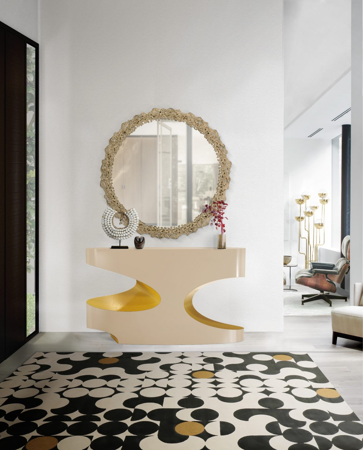 wall mirrors 18 Wall Mirrors To Decorate Your Walls BB bryce console cay mirror yarsa rug 1