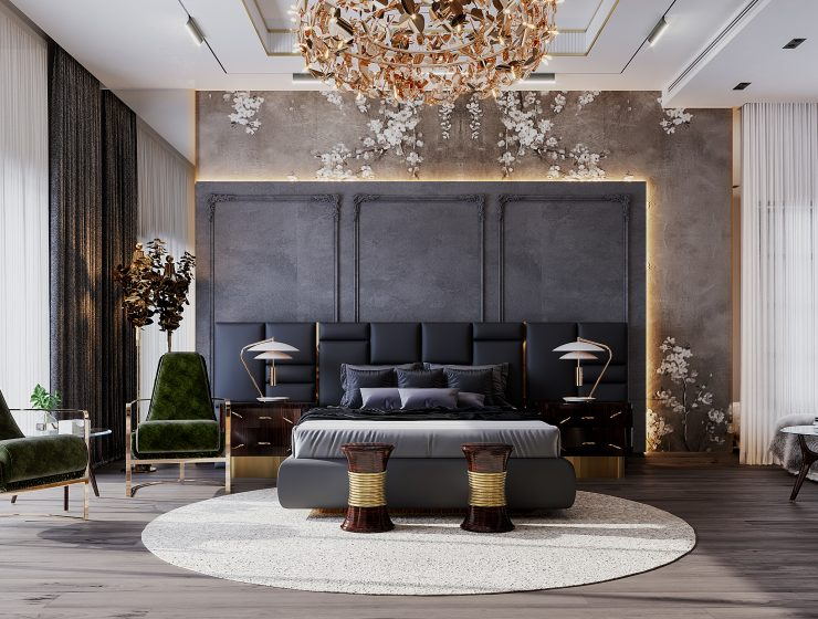 Covet House x K.A Interior Design:  A Opulent Modern Classic Villa In Riyadh Guest Bedroom 1 740x560