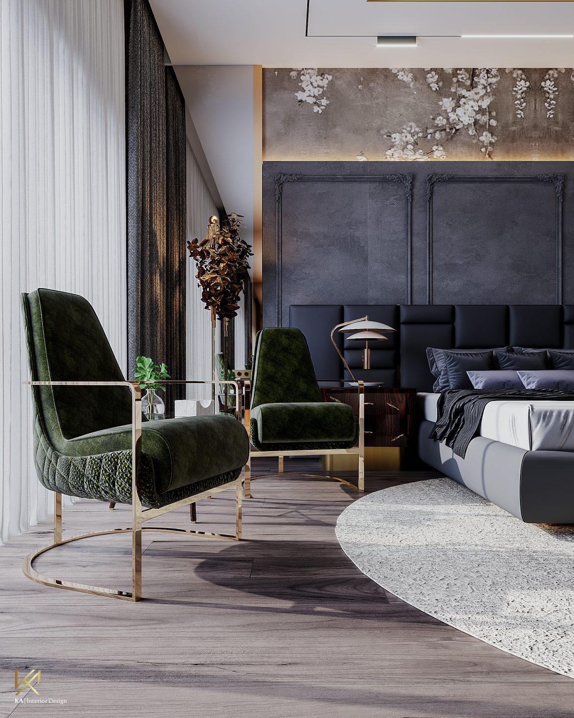 Covet House x K.A Interior Design:  A Opulent Modern Classic Villa In Riyadh Guest Bedroom 2