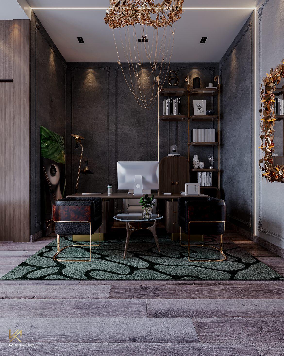 Covet House x K.A Interior Design:  A Opulent Modern Classic Villa In Riyadh Office Room 1